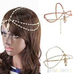 Tocado de cadena de perlas online-Moda oro multi perla cadena grano corona Tikka cabeza pelo manguito diadema diadema para mujeres 1ST4