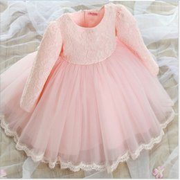 Wholesale Long Dresses Net Neck - Cute Girls Princess Dresse Party Dress 2018 Autumn Pure Color Long Sleeve Lace Net Yarn Dress With Big Bowknot Children Floral Printed Dress