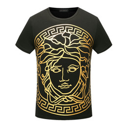 Wholesale Stamp Men - famous Summer luxury europe Cotton tshirt fashion designer gold stamp medusa palace Harajuku color print Men Brand casual t-shirt tee top