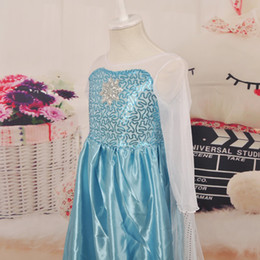 Wholesale Long Skirts Girls - in stock!2015 frozen Princess dream dress frozen elsa long dress skirt girls dresses ELSA dress anna dress girl pageant dresses (1701001)