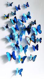 Wholesale Sticker Per Room - Cute 12pcs per set 3D Butterfly Wall Stickers Butterflies Docors Art DIY Decorations Paper mixed colors Christmas Decoration E6M