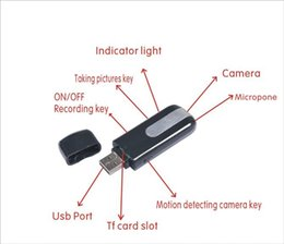 Wholesale Usb Motion Detector U8 - high quality spy usb disk cameras Mini DVR U8 USB Disk HD Hidden Spy Camera Motion Detector Video Recorder 720x480 mini camcorders
