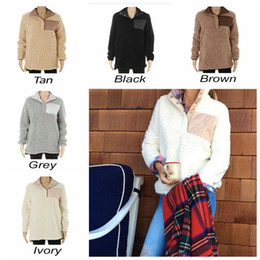 Wholesale Wholesale Branded Sweatshirts - Sherpa Pullover Women Winter Fall Fleece Hoodie Sweatshirt Oversized Half Button Sweaters 5 Colors 50pcs OOA3493