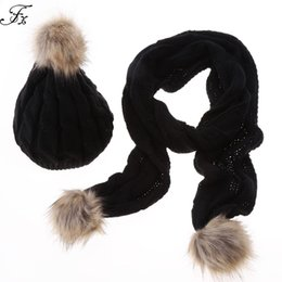 Wholesale Womens Fur Scarves - Wholesale-Brand New Womens Scarf and Hats Sets Stylish Women Ladies Autumn Winter Warm Faux Fur Knitted Hat + Scarf 2Pcs Sets 5 Colors