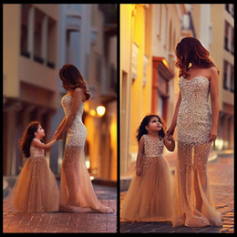 Wholesale Pictures Match - 2016 Best Selling Mother And Daughter Matching Dresses Mermaid Tulle Pearls Prom Dress Elegant Long Formal Evening Dress Flower Girls Dress