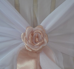 Wholesale Wedding Chair Bow Decorations - 2015 Beautiful Custom Made Hand Made 3D Rose Flowers For Chair Sashes Chair Covers Wedding Decorations