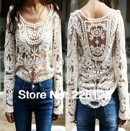 Wholesale Embroidery Floral Lace Crochet Blouses - Women's Blouse 2015 Black white Dress Sweet Semi Sexy Sheer Long Sleeve Embroidery Floral Lace Crochet Tee Top T shirt Vintage XXL