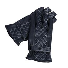 Wholesale Super Seller Wholesale - Wholesale-Best-seller Mens Luxurious PU Leather Winter Super Driving Warm Gloves Cashmere 51014
