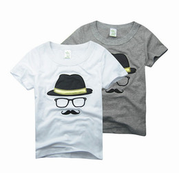 Wholesale Kids Cartoon Shirts - Cartoon Cats Beards Boy's Tshirts Short Sleeve T-Shirt Boy All Match Kids 2015 Summer Tops Clothing Clothes Childs Tees White Gray J4148