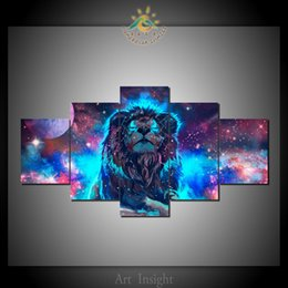 Decorazione luci leone online-5 pc / Set Abstract blue light Lion moderna arte della parete di immagini HD Canovaccio stampato dipingere quadri modulari HD Paints decorazione domestica