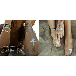 Wholesale Tattoos Ladies Legs - Silver Gold Tattoos Temporary Tattoo Necklace Ladies Waterproof Flash Tattoo Stickers for Body Upper Back Neck Armband Jewelry 1lot=2sheets