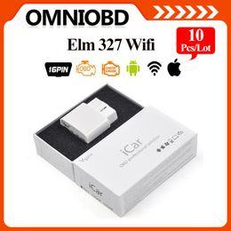 Wholesale Elm327 Ipad - 10 pcs  lot A+ Quality 2016 ELM327 wifi Original Vgate iCar elm327 WIFI OBDII OBD2 diagnosticfor iPhone IOS Android PC iPad DHL FreeShipping