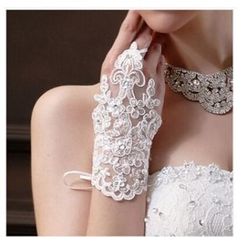 Wholesale Bridal Gloves For Lace - Lace Appliques Bridal Gloves White Color Gloves 2016 Fashion New Bridal Wedding Accessories For Free Shipping