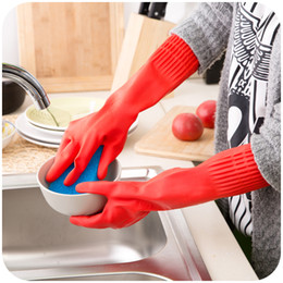 Wholesale Warm Latex Gloves - red color Sleeve lengthened latex warm gloves housework household washing gloves Thick rubber gloves, dishwashing gloves Laundry