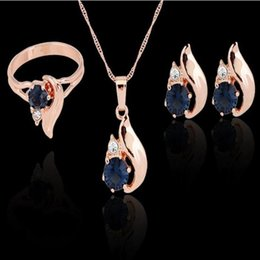 Wholesale Blue Sapphire Gold Necklace - Zircon Rhinestone Diamond Earrings Ring And Necklace Jewelry Sets gold plated Shiny Sapphire Pendant chain For Women Jewelry Sets