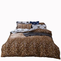 Wholesale Leopard Quilt Full - American style leopard designer bedding set cotton fascinated his and hers bedding pillowcases quilt cover bed sheet duvet cover