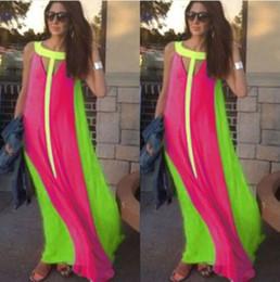 Wholesale Chiffion Maxi Dress - Fashion Casual Dresses Summer sleeveless Tank long chiffion wave striped color maxi dresses bohemian beach vestidos Women Clothing Free DHL