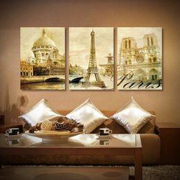 Wholesale Eiffel Tower Canvas Painting - Art print Canvas paintings Architecture Paris eiffel tower painting Modern wall decor 3 piece canvas wall art
