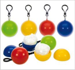 Wholesale Rain Chains - Spherical Raincoat Plastic Ball Key Chain Disposable Portable Raincoats Rain Covers Travel Tour Trip Rain Coat 400pcs