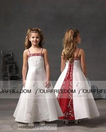 Wholesale Kids Dresses Cheap Prices - Custom-made 2016 New Arrivals Red and White Satin Flower Girl Dresses Cheap Price Kids Dress for Birthday Party