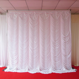 Wholesale Polyester Backdrop - 3m*3m white color ice silk swag wedding backdrop curtain for wedding,party,banquet
