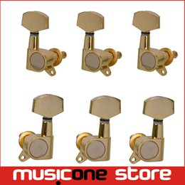 Wholesale Inline Guitar Peg - 3R3L Gold Inline Guitar Tuning Pegs Keys Tuners Machine Heads for Acoustic Folk Electric Guitar Free shipping MU0211