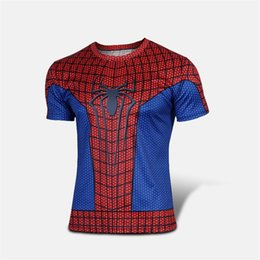 Wholesale Men S New Model Shirt - 5Colors 2015 New Arrival The Amazing Spider-Man The Avengers T-shirt Red Black Models Cinema Style Spider-Man Short Sleeve Elastic Tops Tee