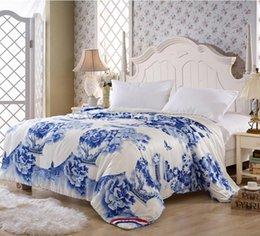 Wholesale Silk White King Blanket - Wholesale-Blue and White 100% Mulberry Natural Silk comforter quilt Blanket Duvet,for Spring&Summer Home King Full Queen double bed Size