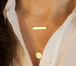 Wholesale Triple Gold Necklace - 2016 Hot three sequins triple gold pendant necklace woman