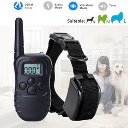 Wholesale Dog Collar Anti Barking - 300 Meters Remote Control Electric Anti-bark Pet Dog Training Collar 100lv Shock Vibra Trainer Lcd Display Retail Box
