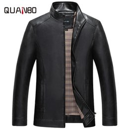 Wholesale Thin Leather Motorcycle Jacket - Wholesale- QUANBO Brand 2017 New Arrival Autumn Men PU Leather Jacket Fashion Casual Male Stand Collar Slim Fit Motorcycle Leather Jackets