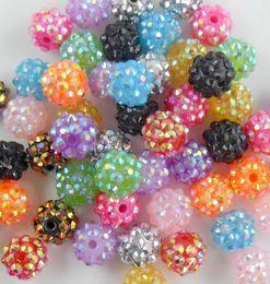 Wholesale Plastic Bracelets Rhinestones - 200pcs Mixed Acrylic Rhinestone Iced Charms Disco Beads 12mm Fit Beads Bracelets DIY