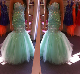 Wholesale Mint Mermaid Tulle Prom Dress - Prom Dresses 2016 Mint Green Long Sweetheart Sleeveless Sparkling Beaded Formal Evening Cocktail Party Gowns New Girl's Pageant Dress