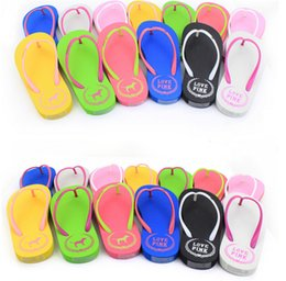 Wholesale Girls Summer Sandals - Girls love Pink Sandals Candy Colors Pink Letter Slippers Shoes Summer Beach Bathroom Casual Rubber Slides Flip Flop Sandals Multicolor