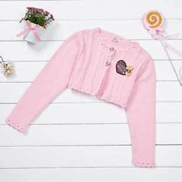 Wholesale Girls Bow Design Coat - Wholesale-Free Shipping Girls Fashion Short Coats with Letter Print Bow Design Long Sleeve Jackets A2916