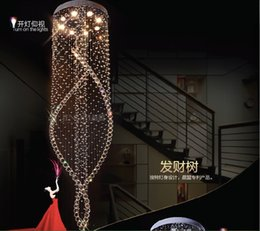 Wholesale large traditional chandelier - Newly Long Spiral Crystal Chandelier Lighting Fixture Crystal Lustre,D600mm H2000mm staircase Lamp, stairs, foyer Large Crystal Stair Light
