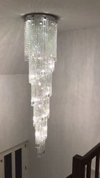 Wholesale Modern Long Chandeliers - new arrival modern long spiral chandelier LED crystal lamp Dia60*H300cm lustre hotel chandelier staircase lighting fixtures
