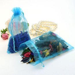 Wholesale 13x18cm Organza Bag - 13x18cm Light Blue Strong Sheer Organza Pouch Wedding Favor Gift Bags Pure Color Organza Bags 100pcs lot Wholesale