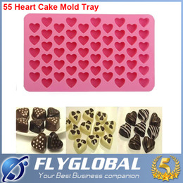 Wholesale Heart Shaped Ice Cube Trays - Heart Shape Mould Silicone 55 Heart Cake Chocolate Cookies Ice Cube Jelly Baking Mould Tray Free DHL Factory Direct