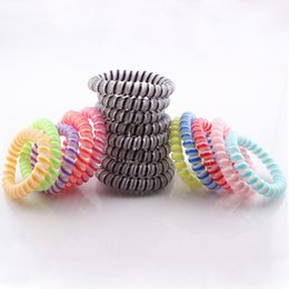 Wholesale Crystal Telephones Wholesale - Hot Selling Hair Accessories Hair Ring Telephone cord Elastic Double Colors Headband Ponytail Holders for Girl H217