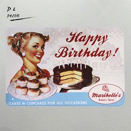 Wholesale Sticker Happy Birthdays - DL- HAPPY BIRTHDAY LARGE METAL TIN SIGN POSTER VINTAGE STYLE PLAQUE 20*30cm sweet cake home decor