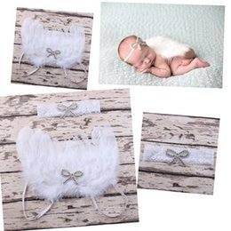 Wholesale Maternity Headbands - 10set White Feathered Angel Wings Couture Embroidery Sequins Bow Applique lace Headband Newborn Maternity Photography Prop hairband YM6109