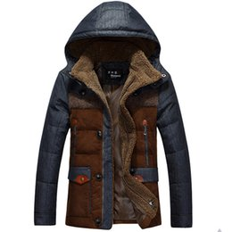 Wholesale Hooded Denim Coat - jaqueta masculina thick male down jacket Men fashion hooded down coat patchwork denim parka man wholesale