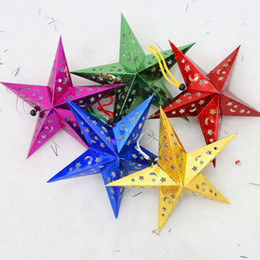 Wholesale Laser Multi Points - Hot Selling Christmas Paper Star Christmas Three-dimensional Laser Five-pointed Star Santa Xmas Decorations 2015 newest 110102
