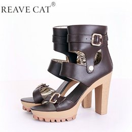 Wholesale Brown Women Shoes Sandals - 2015 New Summer Women genuine leather shoes Sandals High heels Platforms Buckle Zip Black White Brown Apricot Fashion Punk Cool
