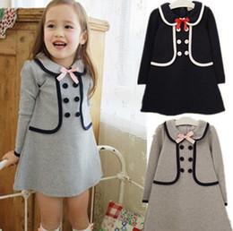 Niñas vestidos cruzados online-Las nuevas muchachas del bebé estilo preppy visten a niños traje de doble botonadura de los niños de manga larga princesa vestido 2 colores de calidad superior