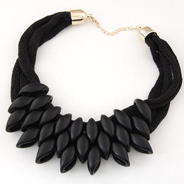 Wholesale Woven Chain Necklace - Bib Necklace For Women Collares Choker Necklace Exaggerated Statement Necklace Women Weaving Geomertric Necklaces & Pendants