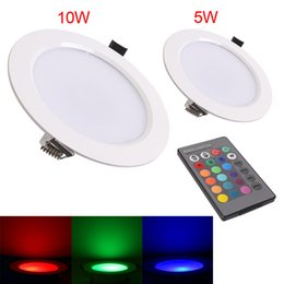 Wholesale High Powered Spot Lights - High Power 5W 10w LED Panel Light ceiling lamp Down Lights Recessed spot lamp Bulbs with remote RGB AC85-265V CE ROHS
