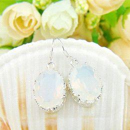 Wholesale Rainbow Crystal Dangle Earrings - HOT Charming Women Jewelry Classical Rainbow Moonstone Crystal Silver Dangle Earrings 100% hand made earrings hawaii