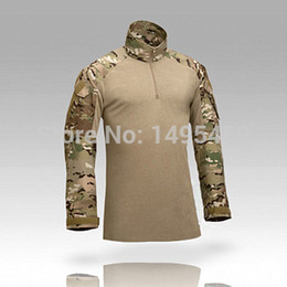 Wholesale Men S Cargo Shirts - Wholesale-2016 Outdoor Sport tactical Camouflage military us army combat t-shirt cargo multicam Airsoft paintball clothing with knee pads
